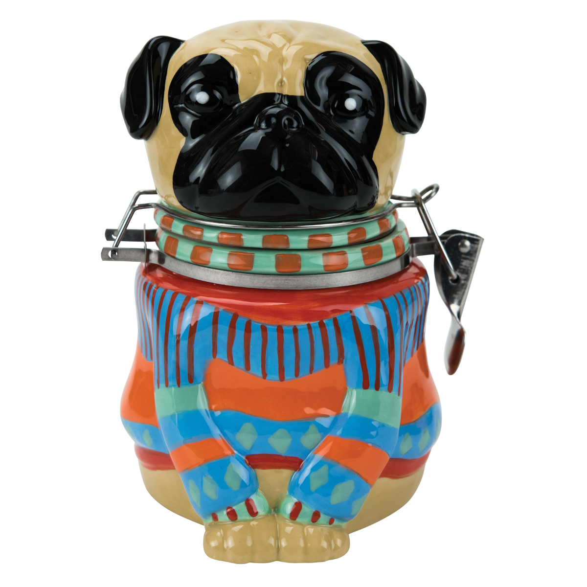 Boston Warehouse Earthenware Pugly Sweater Hinged Jar