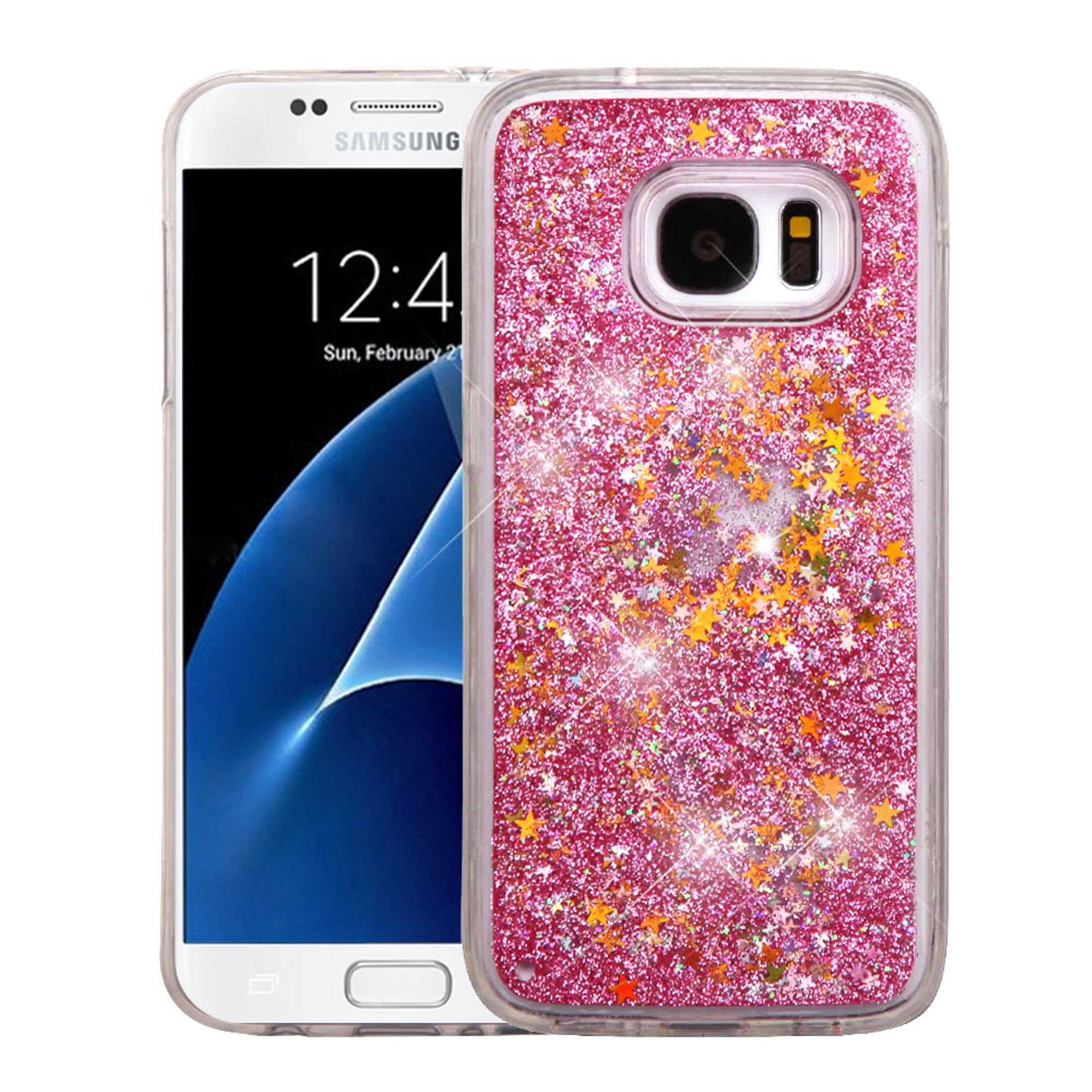 Samsung Galaxy S7 Case, by Insten Stars Quicksand Glitter Dual Layer Hybrid Hard Plastic / TPU Case For Samsung Galaxy S7 - Pink