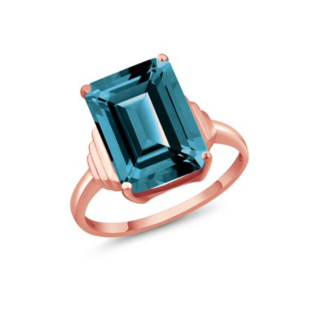 8.50 Ct Emerald Cut London Blue Topaz 18K Rose Gold Plated Silver Ring ()