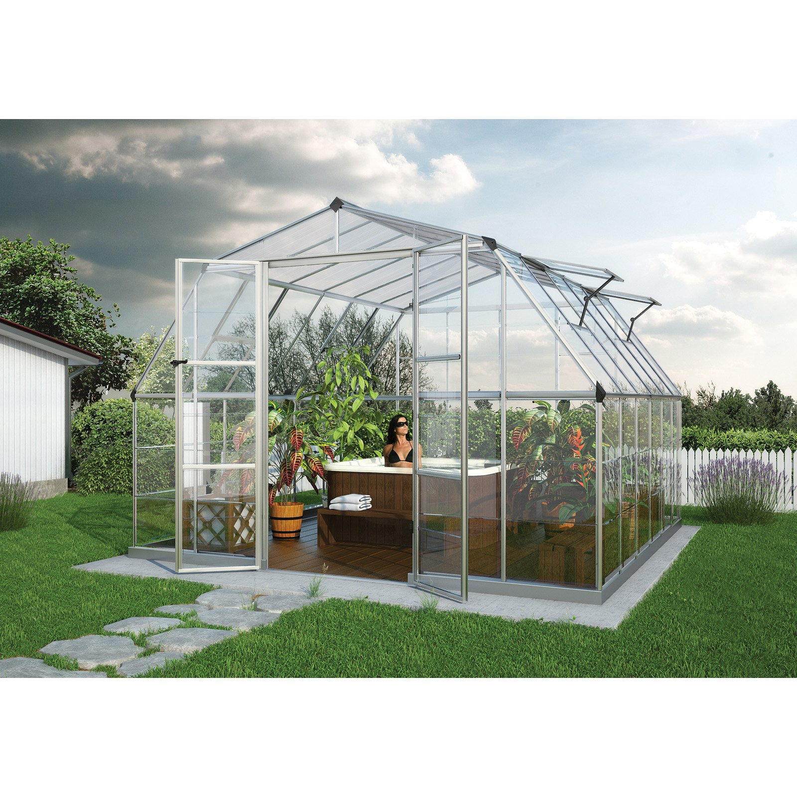 Palram Americana Silver Hobby Greenhouse 12 x 12 ft. by Overstock