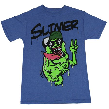 Ghostbusters Mens T-Shirt  - Slimer Sunglasses Hat Flashing Peace Sign ()