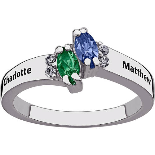 Personalized Sterling Silver Couple's Marquise Birthstone and Name Ring with CZ Accents