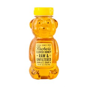 Fischer's Honey 100% Natural Clover Honey Bear, Pure Honey, 12 oz