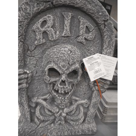 Light Up Reaper Tombstone Halloween Decoration - Boarded Up Window Halloween Decoration