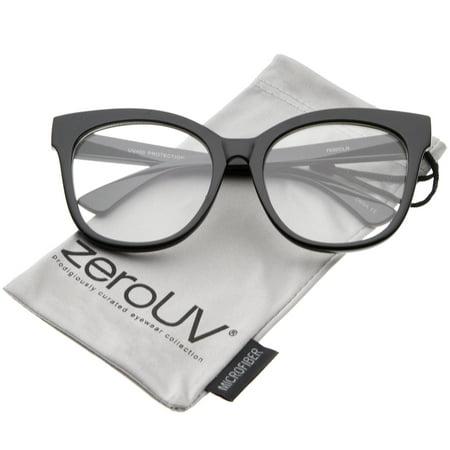 zeroUV - Women's Horn Rimmed Clear Flat Lens Oversize Cat Eye Glasses 57mm (Black / Clear) - - Horned Rimmed Glasses