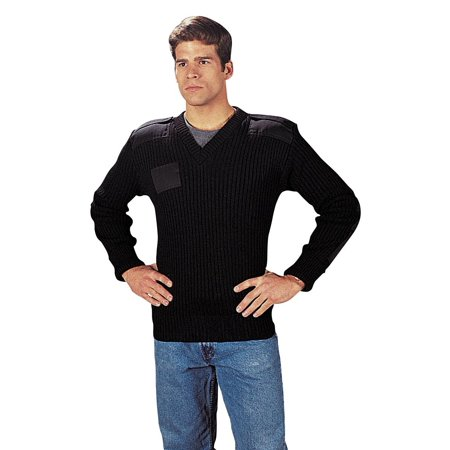 Mens Classic V-neck Sweater - GI Black Wool V-Neck Commando Sweater