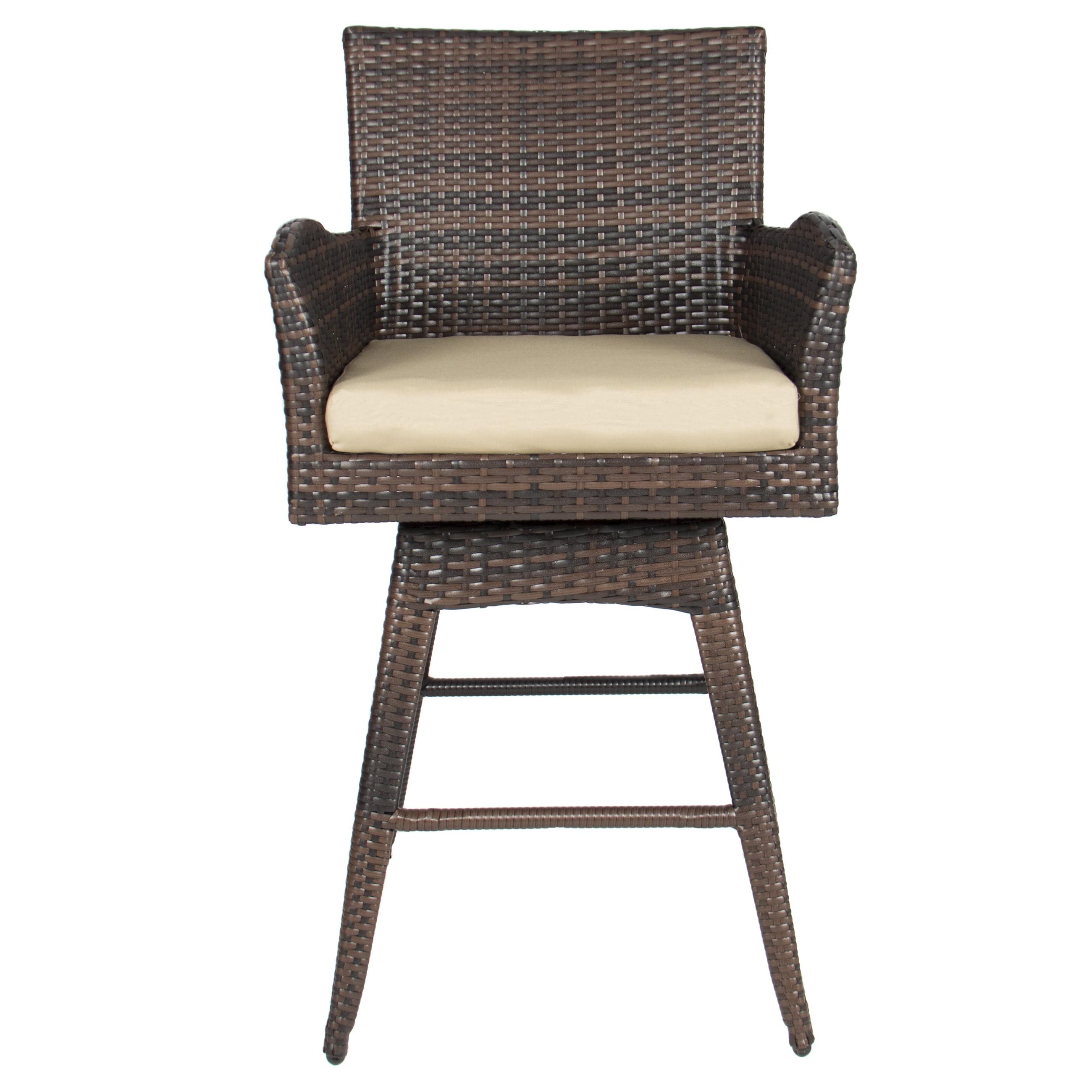 Outdoor Patio Furniture All Weather Brown PE Wicker Swivel Bar Stool W/  Cushion   Walmart.com
