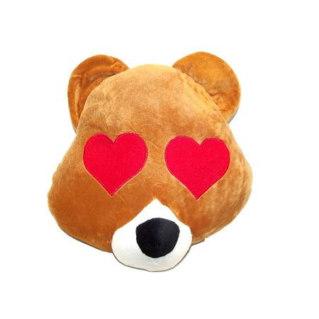 emoji plush pillow s bear with heart eyes emoji walmart com