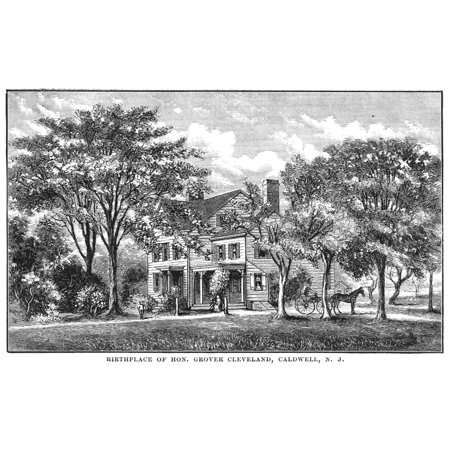 Grover Cleveland N 1837 1908  22Nd And 24Th President Of The United States Birthplace Of Cleveland In Caldwell New Jersey Wood Engraving American 19Th Century Rolled Canvas Art     18 X 24