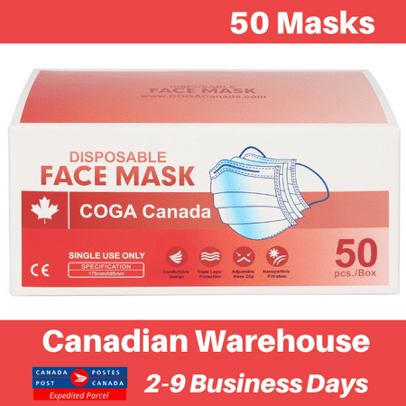 COGA Canada - 50 Masks (5 Packs of 10) 3ply Disposable Face Mask Non Medical Non Surgical - image 1 of 5