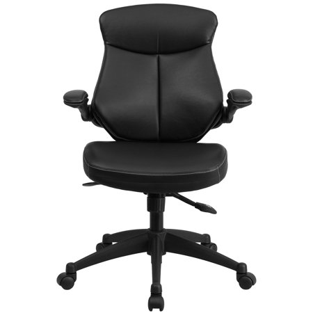 Flash Furniture Mid-Back Black Leather Executive Swivel Office Chair with Back Angle Adjustment and Flip-Up -