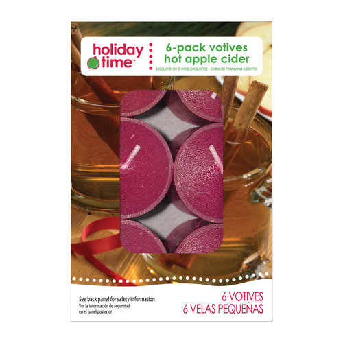 Holiday Time 6-Pack Votives, Hot Apple Cider