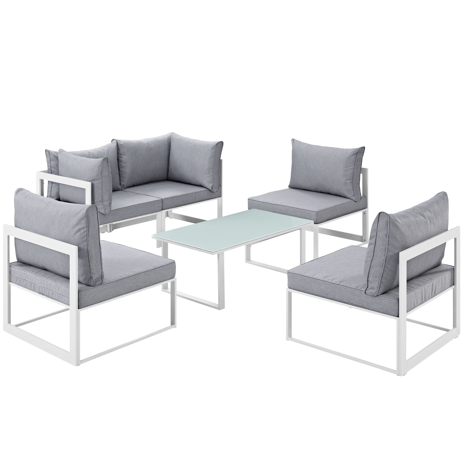 Modern Urban Contemporary 6 pcs Outdoor Patio Sectional Sofa Set, White Grey Fabric Steel