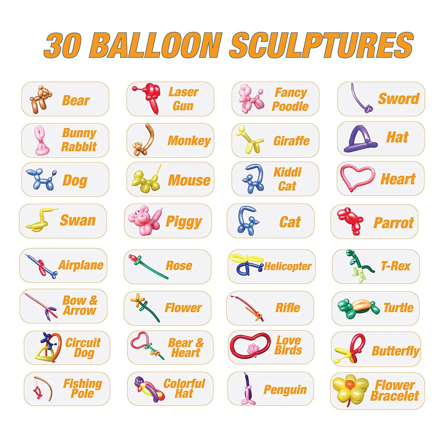 Diy Balloon Animal Kit For Beginners Twisting Modeling Balloon Kit 30 Sculptures 100 Balloons For Balloon Animals Pump Manual Dvd Party Fun Activity Gift For Teens Boys And Girls