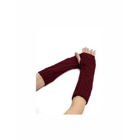 Cable Knit Pull (Women's Elbow Length Argyle Design Cable Knit Arm Warmers Pair Red)