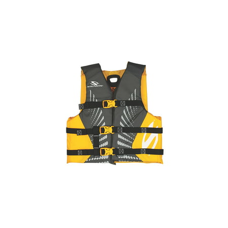 Stearns Kids Infinity Nylon Life Vest for Boys 50-90 Pounds, Yellow/Gray - Kids Fbi Vest