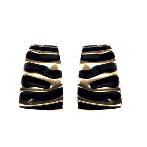 Emitations Brass Black Clip on Earrings
