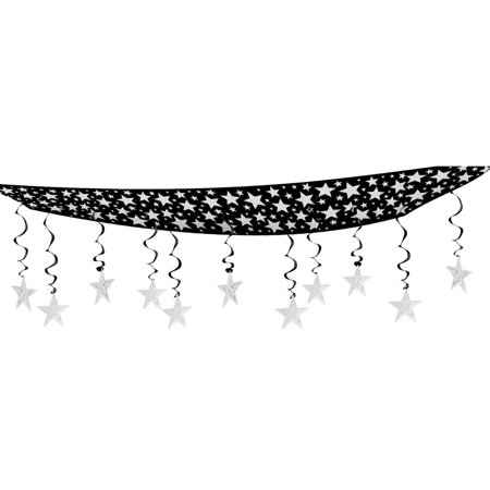 Pack of 6 New Year Hollywood Theme Party Silver Stars Hanging Ceiling Decorations 12'](Hollywood Prom Theme)