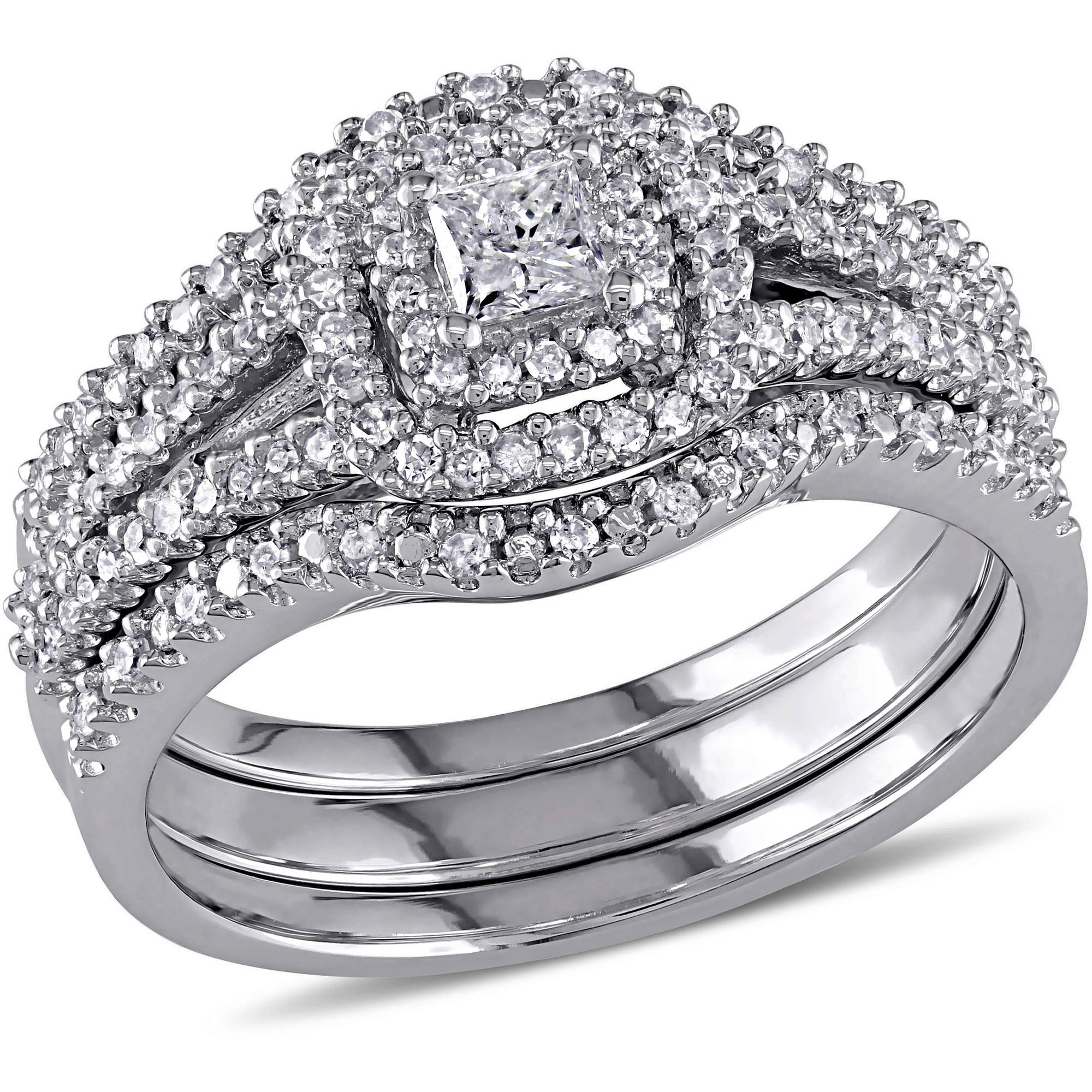Miabella 1/2 Carat T.W. Princess and Round-Cut Diamond Sterling Silver Double Halo Bridal Set