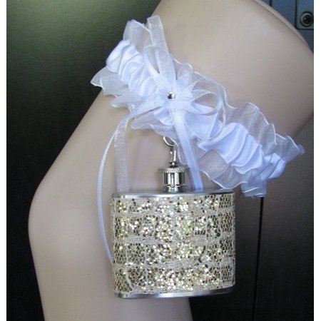4b9bb9f7ddb Garter Flask Lace Garter  amp  Gold Snakeskin Glitter Sparkly Stainless  Steel Liquor Hip Flask Bridesmaid