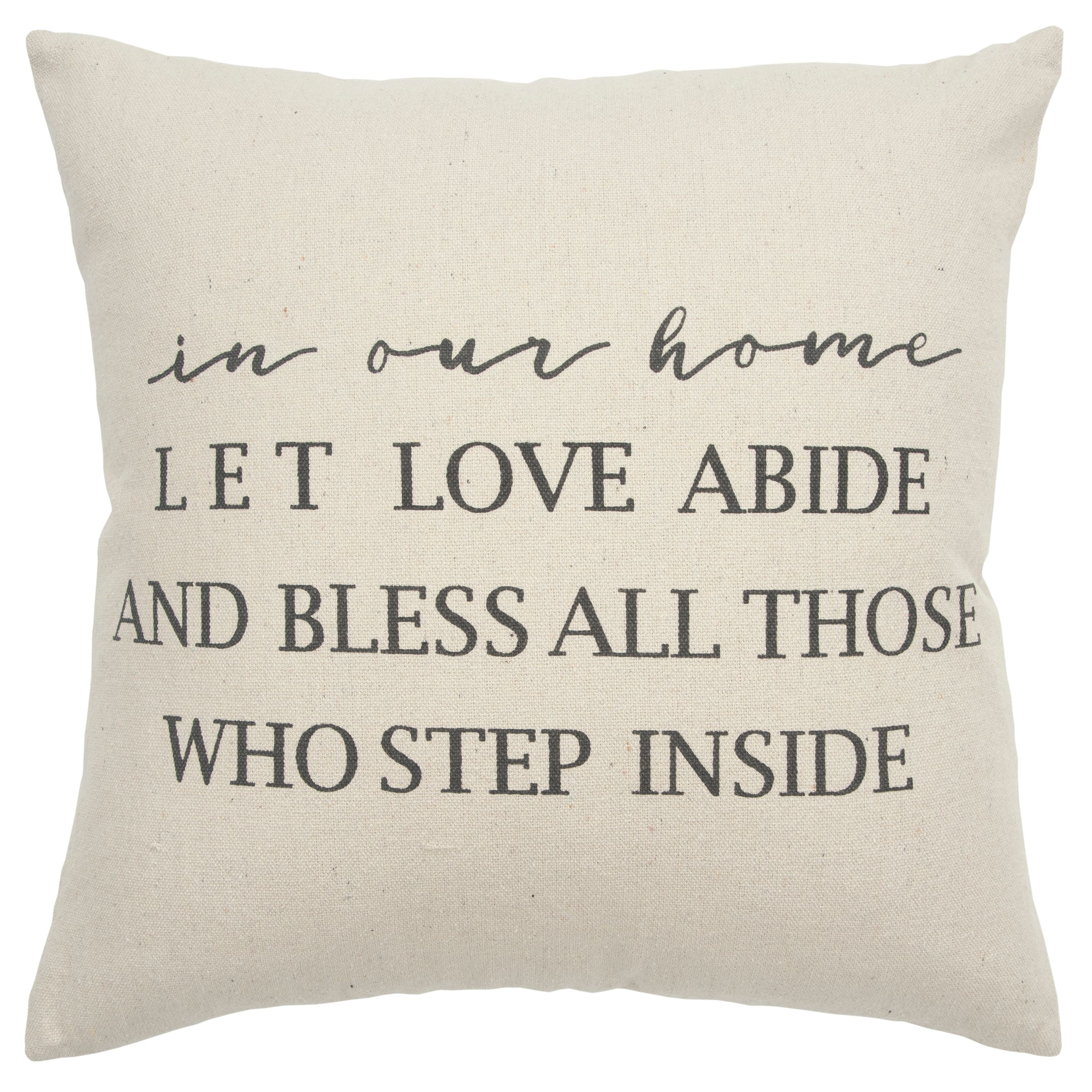 "Rizzy Home Decorative Poly Filled Throw Pillow ""In Our Home…"" 20""X20"" Natural"