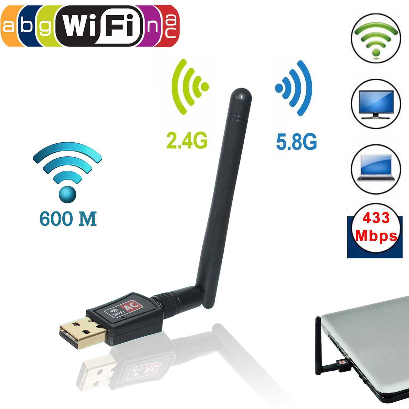 EEEKit 5GHz 433Mbps/2.4GHz 150Mbps Mini Wireless Dual Band WIFI USB Adapter w/ Antenna Network Dongle for PC Laptop