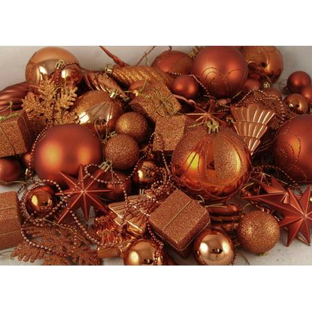 125-Piece Club Pack of Shatterproof Burnt Orange Christmas Ornaments](Christmas Ornaments Clearance)