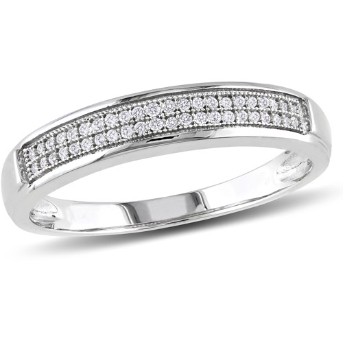 Miabella 1/8 Carat T.W. Diamond Men's Wedding Band in 10kt White Gold
