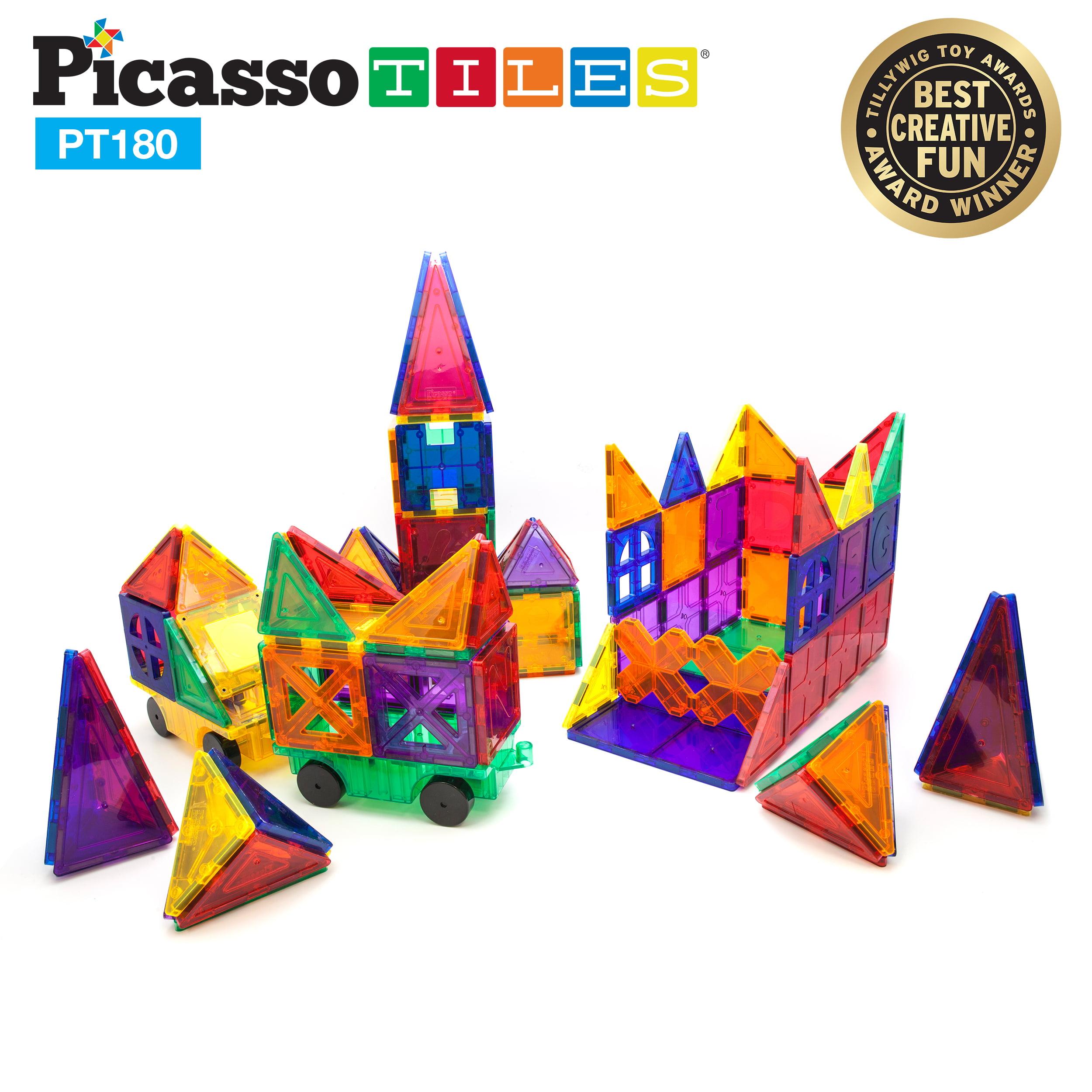 PicassoTiles 180 Piece Set 3D Color Magnetic Building Block Toy Deluxe Construction Kit by PicassoTiles