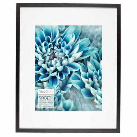 Snap 16x20 Black Wood Wall Frame with Single White Mat For 11x14 Image