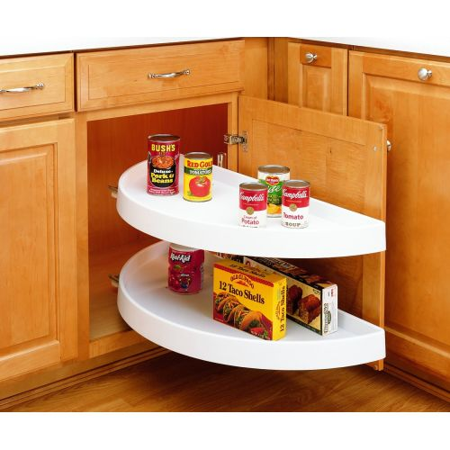"Rev-A-Shelf 6882-33-570 6882 Series 33"" Diameter Half Moon Shaped Two Shelf Lazy Susan Set with Slides"