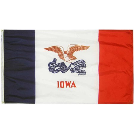 Iowa State Flag, 3' x 5', Nylon SolarGuard Nyl-Glo, Model# 141760