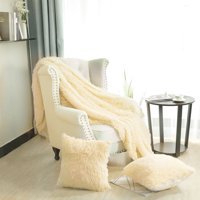 "Solid Reversible Shaggy Faux Fur Blanket Queen Size w/ White Plush Berber Reverse for Couch Bed,78"" x 90"",Yellow"