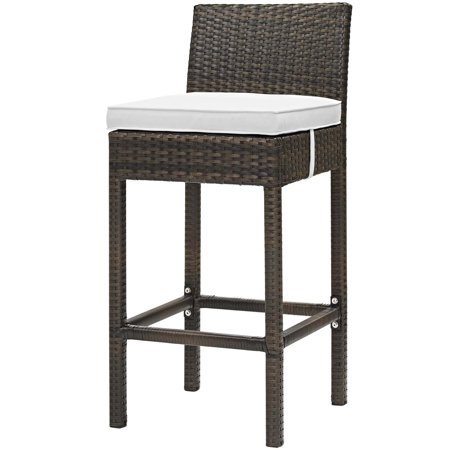 Modern Contemporary Urban Design Outdoor Patio Balcony Garden Furniture Bar Side Stool Chair, Rattan Wicker, White Brown ()