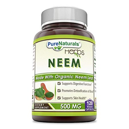 Pure Natural Neem – 500 mg 120VCaps - Raw, Vegetarian- Gluten-Free, Plant-Based Nutrition – Promotes Blood Purification, Healthy Immunity & Healthy Skin*