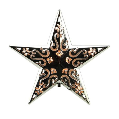 8  Lighted Silver Cut Out Design Decorative Star Christmas Tree Topper   Clear Lights