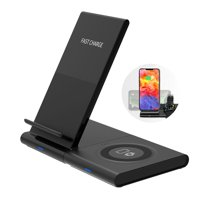 TSV Wireless Charging Pad, 2 in 1 Charge Stand Magnetic Charging Station Compatible with Samsung Watch, iPhone 11/11 Pro Xs Max XR XS X 8 Plus and More Qi Devices