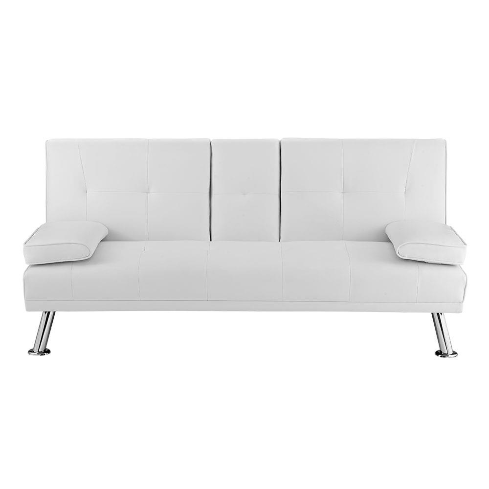 Futon Sofa Bed White Leather Modern Recliner Sleeper Couch Furniture