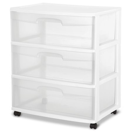 Sterilite 3 drawer wide cart white for Ikea metal cart with drawers