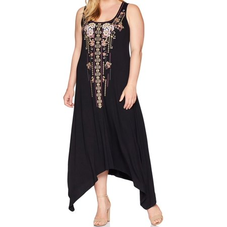 Women Small Petite Floral Embroider Maxi Dress PS