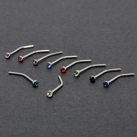 1.8mm Rhinestone Nose Nail Body Piercing Jewelry Stainless Steel Nose Ring 10pcs/pack - image 2 de 4