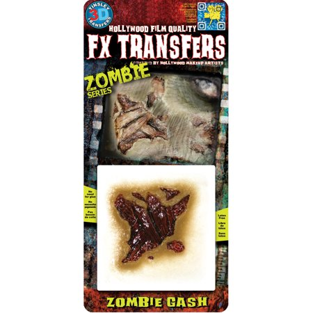 Tinsley Transfers Zombie Gash Makeup FX Transfers, One Size - Easy Diy Zombie Makeup