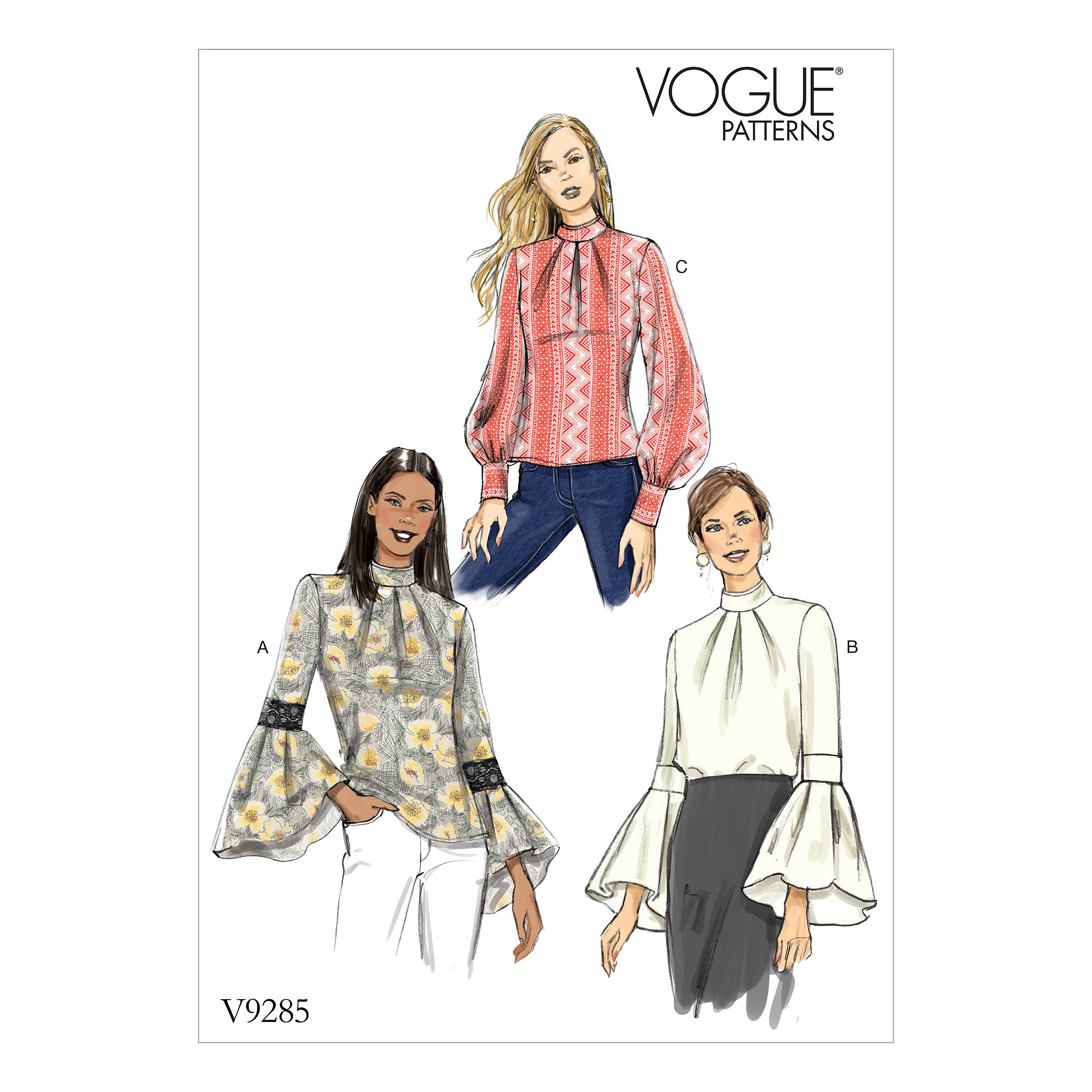 Vogue Patterns Sewing Pattern Misses' Top with Sleeve and Cuff Variations-14-16-18-20-22