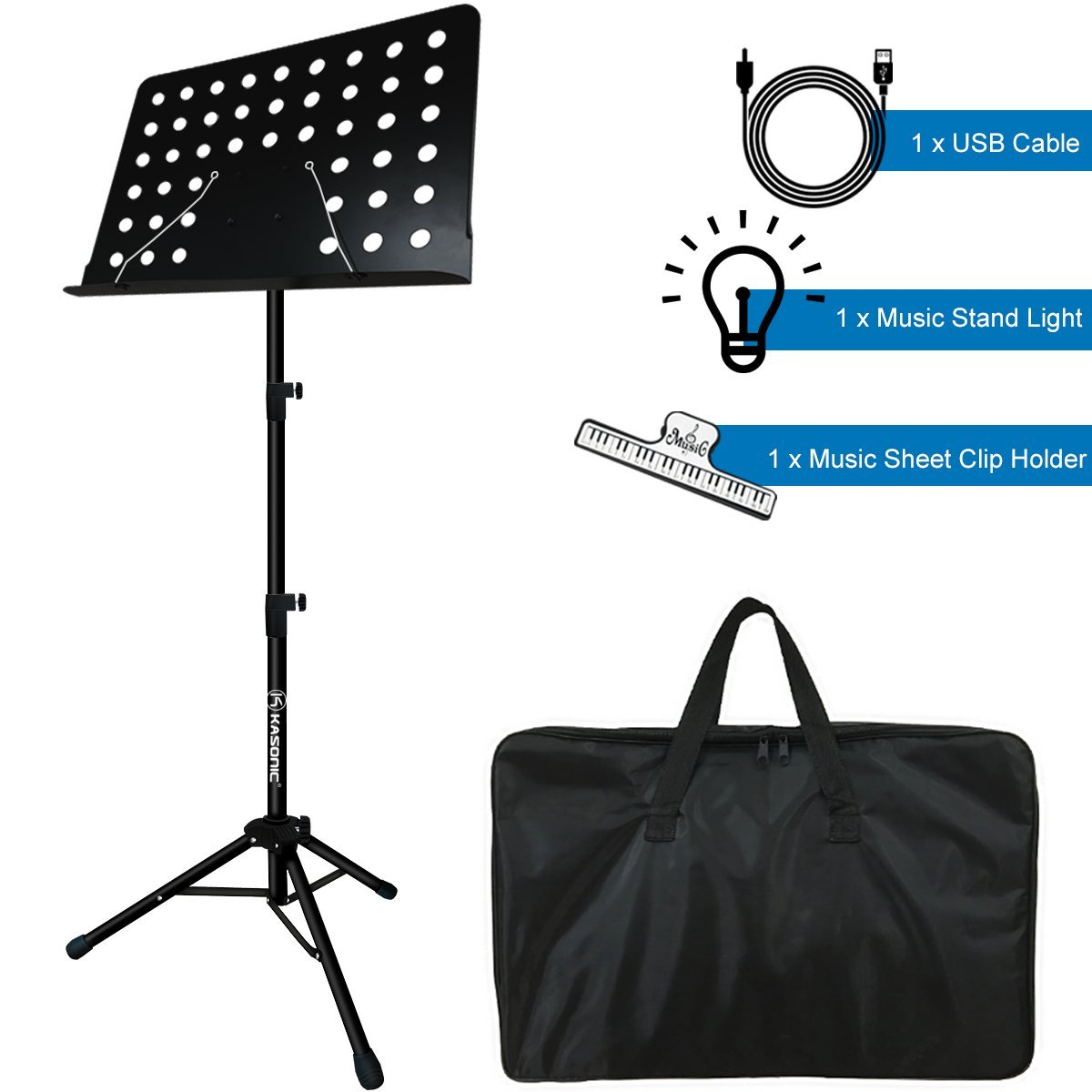 Costech Professional Collapsible Music Stand for Music Sheet, Instrument Books with LED light, Paper Holder and Carrying Bag Perfect for Instrumental Performance