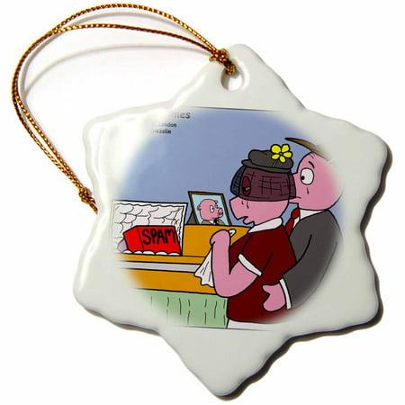 3dRose Pig Funeral - SPAM, Snowflake Ornament, Porcelain, 3-inch ()