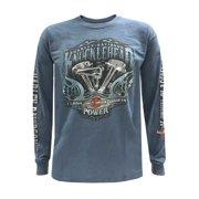 Harley-Davidson Men's Brute Force Crew Neck Long Sleeve Shirt - Indigo Blue, Harley Davidson