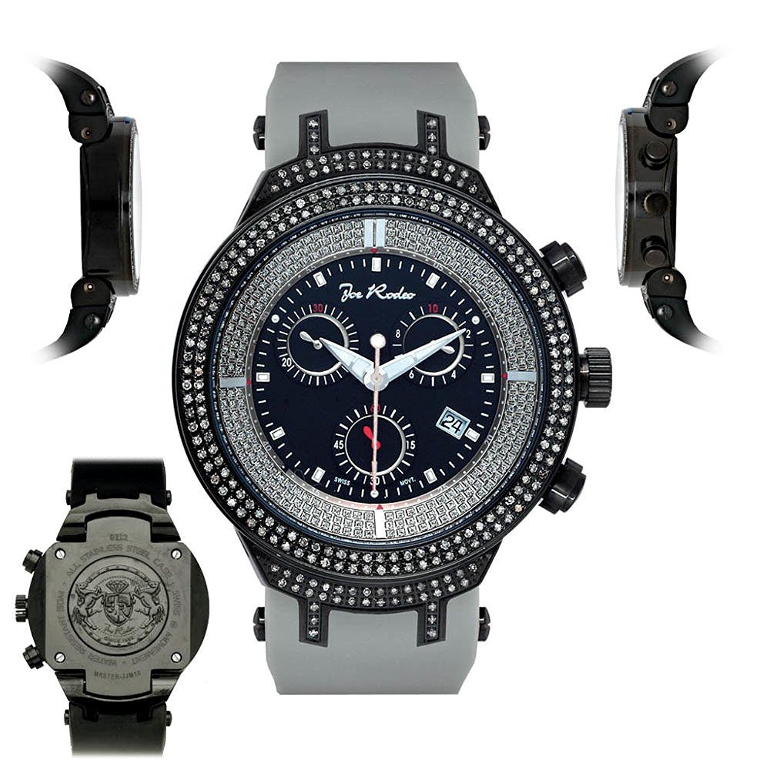 Mens Diamond Watch JJM5 Joe Rodeo Master 2.20 ct All Black