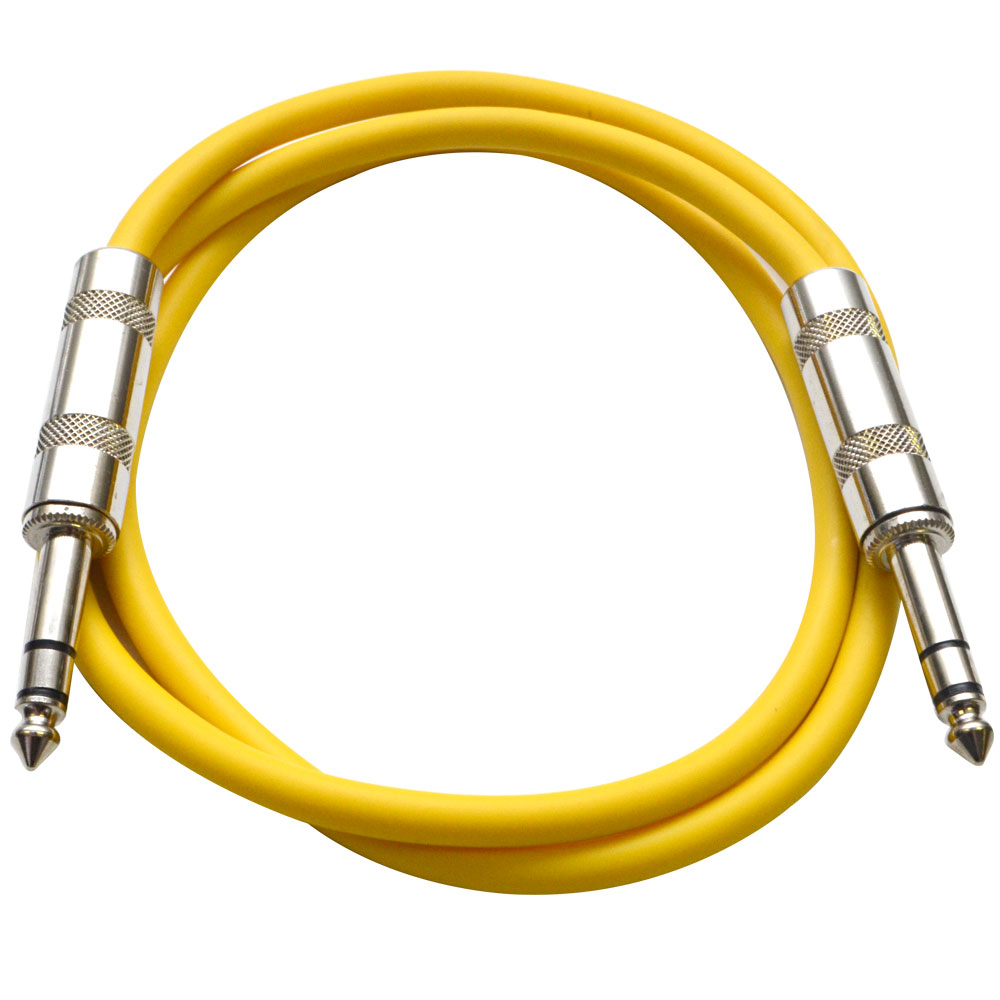 "Seismic Audio  - Yellow 1/4"" TRS 2' Patch Cable  Effects Yellow - SATRX-2Yellow"
