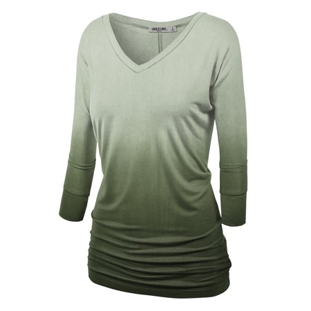 WT1113 Womens V Neck 3/4 Sleeve Dip Dye Drape Dolman Top with Side Shirring S OLIVE