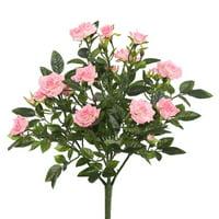 "Vickerman 15"" Light Pink Mini Diamond Rosa Bush with 249 Leaves, 38 Flowers and Buds"